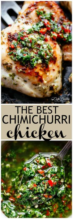 The Best Chimichurri Chicken, grilled or pan fried with authentic Argentine chimichurri! Chimichurri is growing fast in popularity and is the most perfect condiment to serve with your chicken! So easy to make and tastes incredible, your Chimichurri Chicken dinner is ready in minutes!