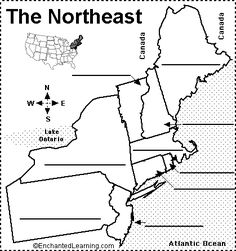 Northeast States and Capitals Quiz | Label Northeastern US States Printout - EnchantedLearning.com