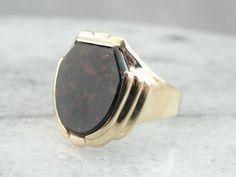 Bloodstone Shield, Substantial Vintage Men's Ring in Fine Gold