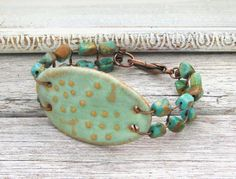 Ceramic Aqua Cuff Bracelet Beaded with Natural by BackBayPottery, $38.00