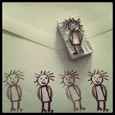 Stempel van gum - line drawn person