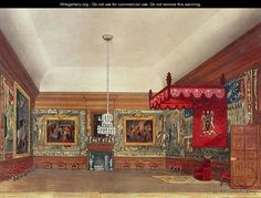 The Throne Room, Hampton Court from Pynes Royal Residences, 1818 - William Henry Pyne