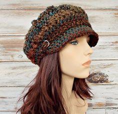 Crochet Hat for Women, Womens Hat with Brim, Winter Newsboy Hat, Golf Cap, Baker Boy Hat Crochet Newsboy Hat, Knit Or Crochet, Knitted Hats, Slouchy Beanie, Beanie Hats, Fedora Hat, Winter Hats For Women, Hats For Men, Crochet Hat For Women