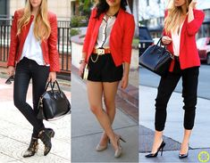 Look do Dia = Casaco Vermelho + Blusa Branca + Calça ou Shorts Preto