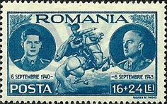 Stamp: King Michael I. (* 1921) and Marshal Ion Antonescu (Romania) (Coming to power of Marshal Antonescu) Mi:RO 774,Sn:RO B216