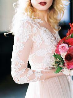 Blush Long Sleeve Lace Dress - The Best Wedding Dresses of 2015! | Maria Lamb Photography | http://heyweddinglady.com/best-wedding-dresses-2015/