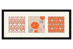 A giclée print presented in three sections. The work is beautifully matted and shadowbox-framed under glass.  Orange Pattern Print on OneKingsLane.com