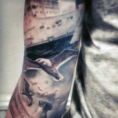 Mens Realistic 3d Flying Seagull At Sea With Ship Sleeve Tattoo