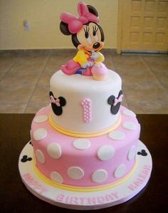 Possible Birthday cake. Mickey rather than minnie and Blue, not pink (mouse cake daughters) Baby Minnie Mouse Cake, Bolo Do Mickey Mouse, Mickey And Minnie Cake, Minnie Mouse Theme Party, Bolo Minnie, Mickey Mouse First Birthday, Mickey Cakes, First Birthday Cakes, Birthday Ideas