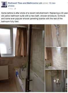 Some before & after shots of a recent refurbishment. Replacing a 40 year old yellow bathroom suite with a new bath, shower enclosure, furniture and some ever popular shower panelling boards with the rest of the bathroom fully tiled. #rothwell #kettering #bathrooms #northampton