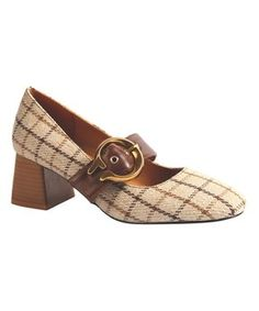 Beige & Brown Plaid Buckle Pump