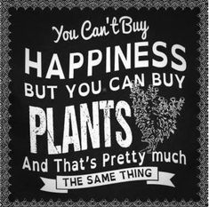 """You can't buy happiness but you can buy plants and that's pretty much the same thing"" - love this gardening quote!"