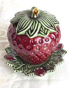 Olfaire Strawberry Pot, Olfaire Strawberry Tureen, Retro Kitchen, Vintage Olfaire Pottery, 3 Piece Olfaire Tureen, Vintage Kitchen by AgedwithGraceVintage on Etsy