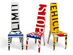 Decorative Chairs and Small Tables Made Of Recycled Street Signs - Transit by Boris Bally