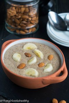 Roasted almond porridge - A creamy vegan porridge made using roasted almonds and thickened with chia seeds.