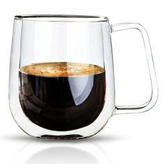 VARANO Double Wall Insulated Espresso Mug With Handle-Crystal Clear Cup For Tea, Coffee, Milk or Cold Drinks- Heat Resistant Layered Top Quality Lead Free Borosilicate Glass- Great Gift Thermal Mug -- Check this awesome image  : Coffee and Stuff