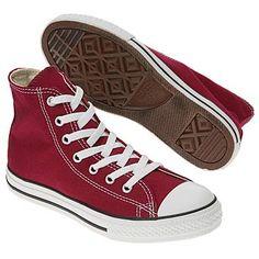 The groom's shoes: Converse Chuck Taylor Hi Tops Maroon.