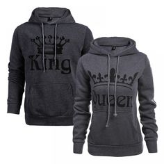Cheap women hooded, Buy Quality couple hoodie directly from China sweatshirt women Suppliers: Autumn Winter Knitted King Queen Letter Printed Couple Hoodies Hip Hop Street Wear Sweatshirts Women Hooded Pullover Tracksuits Hoodie Sweatshirts, Printed Sweatshirts, Sweat Couple, King Y Queen, King King, Queen Crown, Streetwear, Couple Outfits, Couple Clothes