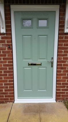 4 Panel 2 Square Glazed Composite Front Door in Chartwell Green