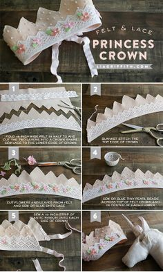 Felt and Lace Princess Crown Make A Felt & Lace Princess Crown .Make A Felt & Lace Princess Crown . Kids Crafts, Felt Crafts, Diy And Crafts, Sewing For Kids, Diy For Kids, Sewing Crafts, Sewing Projects, Felt Crown, Lace Crowns
