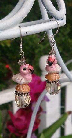 Flamingo Earrings Beach Jewelry Free Shipping  www.etsy.com/shop/secretstashboutique