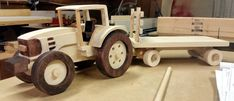Handmade Wooden Toy Tractor, From Quick & Easy Farm Tractor and Trailer Wooden Toy Farm, Wooden Car, Woodworking Guide, Woodworking Skills, Plywood Art, Handmade Wooden Toys, Scrap Wood Projects, Wood Cutouts, Trailer