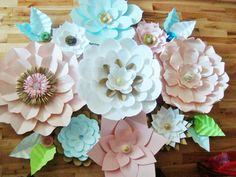 Set of 13 Large Paper Flowers Multicolour by DreamEventsinPaper $200 CAD