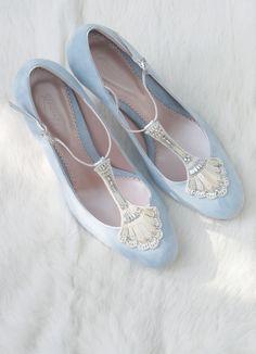 Emmy London Eva Duck Egg blue Bridal Shoe with embellished T-bar trim