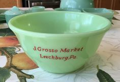 Rare McKee Jadeite Skokie Green J Grosso Market Advertising Mixing Bowl