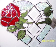 Stained Glass Red Rose in a Heart with Bevels Sun Catcher | Designs-in-Stained-Glass - Glass on ArtFire
