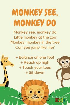 zoo animals We love this action rhyme thats sure to get everyone up and moving! Great for zoo, animal, and safari themes in storytime or the classroom. Preschool Zoo Theme, Preschool Music, Movement Songs For Preschool, Preschool Learning Activities, Preschool Lessons, Zoo Animal Crafts, Animal Activities For Kids, Songs For Toddlers, Toddler Songs With Actions