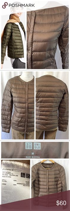 Uniqlo Packable Down Jacket This warm down filled Jacket is ultra thin and lightweight, packable. Water-repellent outer with quilted stitching, full front snap closure and long sleeves. Minimum 90% down filling for incredible warmth. Excellent condition by Uniqlo. Uniqlo Jackets & Coats