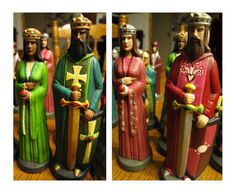 New Hand Painted Ceramic Chess Set in Maroon and Silver and Emerald Green and Gold Colors - Yes!