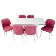 Set masa living Vegas Alba cu scaune roz Vegas, Dining Table, Doors, Furniture, Home Decor, Decoration Home, Room Decor, Dinner Table, Home Furnishings