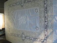 Vtg Antique Lace Bedspread Italian Needlelace Embroidered Handmade Heraldic