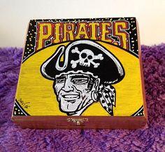 Custom Hand Painted Pittsburgh Pirates Logo Cigar Box–Pittsburgh Pirates–Baseball–Pittsburgh-Cigar Box-Smoking Decor-Stash Box-Jewelry Box by TimothyDaviesArt on Etsy