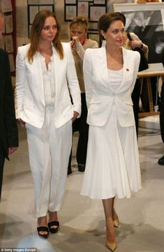 Angelina Jolie and Stella McCartney in all white