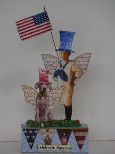 altered art fairy mixed media miniatures paper pixie 4th of July woodblock