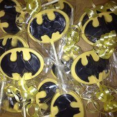 #Batman lollipops for my Paulie Guy! #customchocolatecandies #Padgram