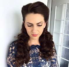 half up curly vintage hairstyle for long hair
