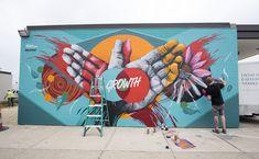 Check out Meggs' new mural in Eastern Market. Graffiti Wall Art, Murals Street Art, Mural Wall Art, Mural Painting, Street Art Graffiti, Urban Street Art, Best Street Art, Office Mural, School Murals