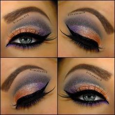 blue and coral eyeshadow