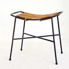 Carl Auböck; Enameled Metal and Wicker Stool for Vereinigte Werkstaetten, 1950s.