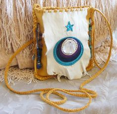 HIGHER SELF deerskin leather Purse, medicine bag, Spirit pouch CHAKRA with Lapis Lazuli, Rock Crystal, Citrine, Turquoise, Amethyst. $125.00, via Etsy.