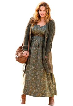 Print Maxi Dress | Plus Size Taillissime® | fullbeauty - Roamans - green empire waist bohemian dress