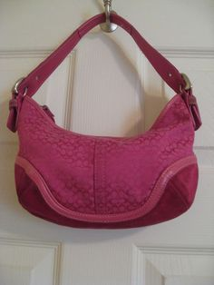 Authentic Hot Pink Coach Purse Small Hobo Bag Leather No. G042-6351 #Coach #Hobo