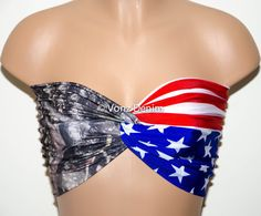 American Flag and Camo Bandeau Beach Bra Swimsuit Top by Vonzdenim