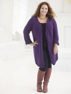 Ravelry: Curvy Girl Cabled Cardigan pattern by Bobbie Fitzgerald Knit Cardigan Pattern, Cable Cardigan, Crochet Jacket, Knit Crochet, Winter Cardigan, Lion Brand Patterns, Knit Patterns, Clothing Patterns, Dress Patterns