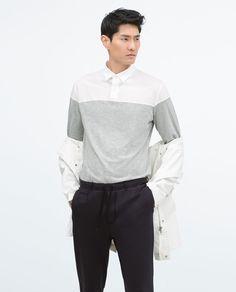 Image 1 of MIXED POPLIN SHIRT from Zara