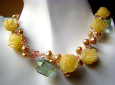 Crochet Wire Necklace with yellow jade roses, vanilla freshwater pearls, and green fluorite - Great for Valentines. $28.50, via Etsy.